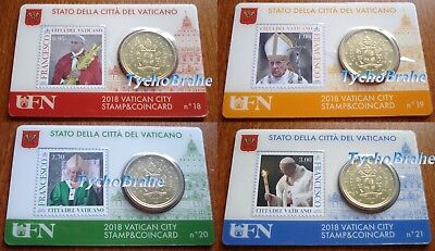 4x STAMP COIN CARD 50 cent 2018 VATICANO FRANCESCO Coincard BU VATICAN FRANCISCO