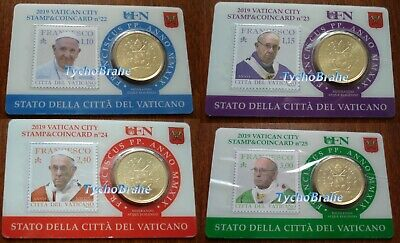 4x STAMP COIN CARD 50 cent 2019 VATICANO FRANCESCO Coincard BU VATICAN FRANCISCO