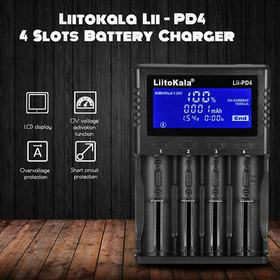 Liitokala Lii - PD4 4 Slots LCD Display Battery Charger for NiMH/AA/AAA Battery