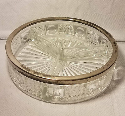 Vintage Cut Crystal  Hor D' Oeuvres Divided Relish Dish Silver Plated England