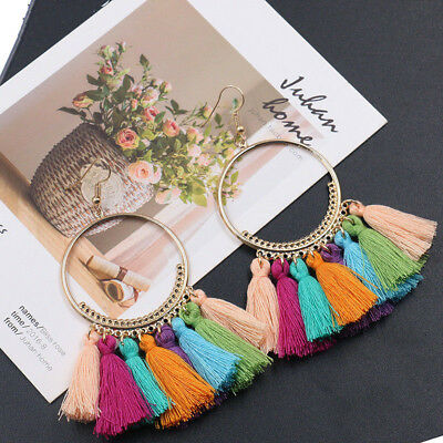Fashion Women Colorful Bohemian Earrings Long Tassel Fringe Boho Dangle Earrings