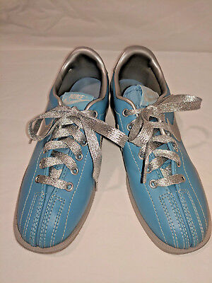 Nike Vintage Womens Bowling Shoes Blue   Silver Size 7 Hipster Retro FREE  SHIP 2c3343023