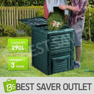 Compost Bin Food Waste Recycling Composter 290L Kitchen Garden Composting