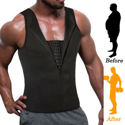 AU Men Body Shaper Neoprene Vest Sauna Sweat Slim Corset Tank Top Waist trainer