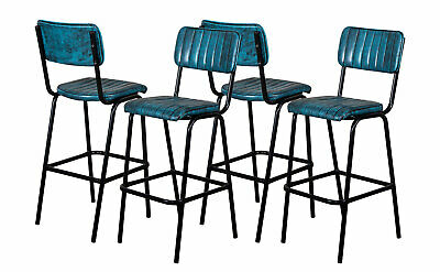 Set Of 4 Blue Upholstered Bar Stool In Vintage Style Faux Leather 76Cm Leather