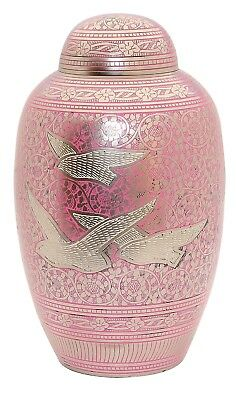Adult Cremation Urn for Ashes Large Funeral Memorial Brass Urn, Pink Flying Bird