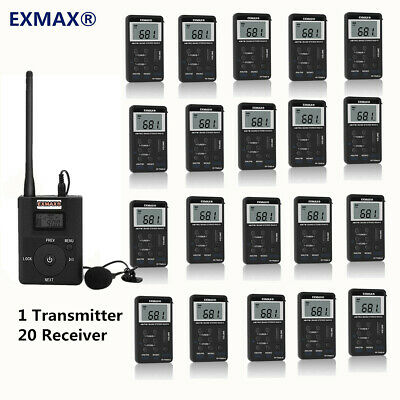 EXMAX Wireless Tour Guide Audio Microphone System 1 Transmitter 20 FM Receiver