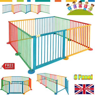 8 Panel Portable Wooden Baby Playpen Play Yard Fence Kid Child Toddler Infant UK