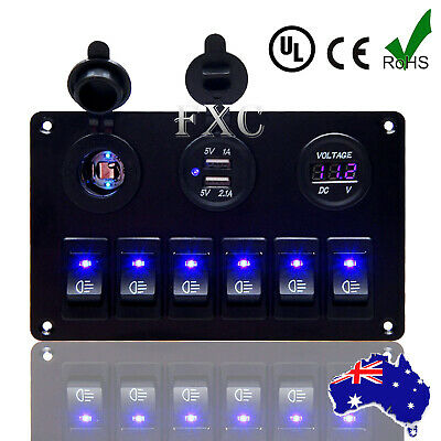 AU Switch Panel 12V USB ON-OFF Toggle 6 GANG Blue LED Rocker for Car Boat Marine