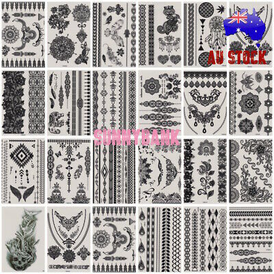 Women Temporary Tattoos Henna Lace Waterproof Tattoo Sticker BLACK Body Arm Art