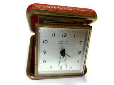 Vintage German Europa Deluxe 2 jewels travel alarm clock.
