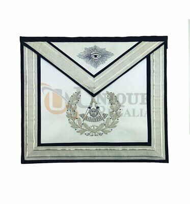 Masonic Past Master Silver Hand Embroidery Freemasons Apron