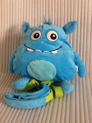 Nuby Baby Backpack W/Safety Harness Blue Monster Plush