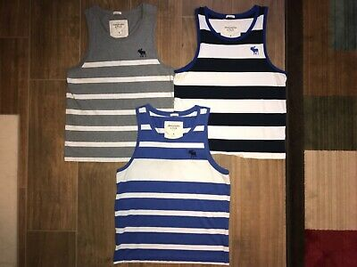 bd5dc5c069d28b Lot of 3 Abercrombie   Fitch Mens Tank Top Size Small S White Blue Navy Gray