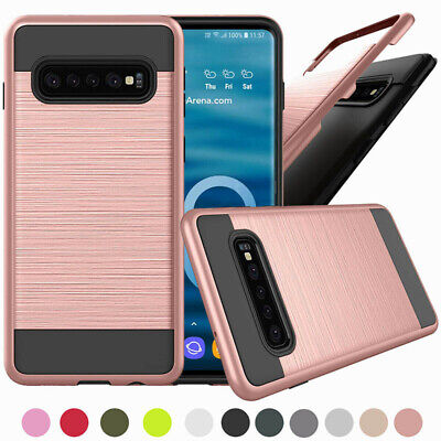 For Samsung Galaxy S10 / S10e /S10+ / Note 9 Brushed Armor Case Shockproof Cove