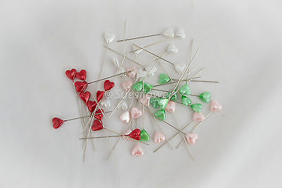 12 5cm  heart pins- floral, craft, valentines, wedding, bouquets, many uses