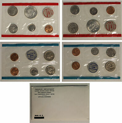 1969 US Mint Set with 40% Silver Kennedy half dollar (OGP) 10 coins