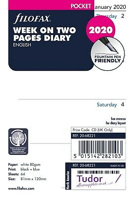 Filofax Pocket 2020 Week on Two Pages Diary White Refill Insert 20-68221