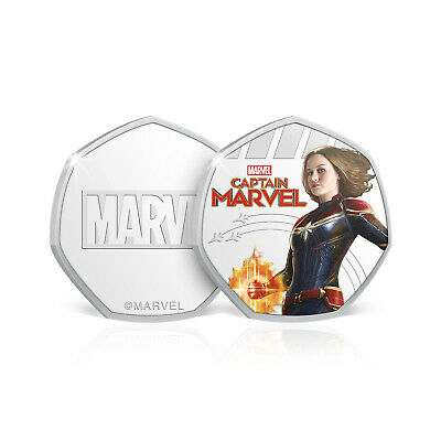 Marvel Gifts Captain Marvel Limited Edition Collectable 50p Shaped Coin / Medal