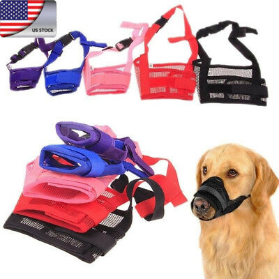US Stock Pet Dog Adjustable Mask Anti Bark Bite Mesh Mouth Muzzle Stop Chewing