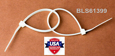 """400 USA Made TOUGH TIES 9"""" inch 40lb Nylon Tie Wraps Wire Cable Zip Ties White"""