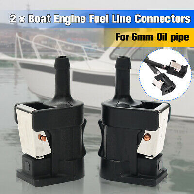 2Pcs Fuel Line Tank Connector For Yamaha Outboard Boat Engine 6mm(1/4'') Hose !