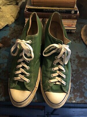 be34eb256f0d Vintage 70s Converse All Star Chuck Taylor Black Label Sneakers USA Sz 14  Green