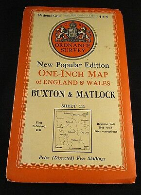 Vintage Ordnance Survey Sheet Cloth Map of Buxton - No. 111  dated 1947