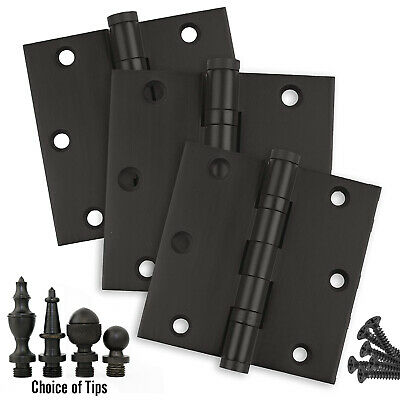 Door Hinges 3.5 x 3.5 Solid Brass Ball Bearing Matte Black With Tips Set of 3