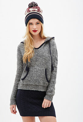 32e79f93097458 FOREVER 21 GREY Marled Knit Hooded Sweater Medium M -  22.49
