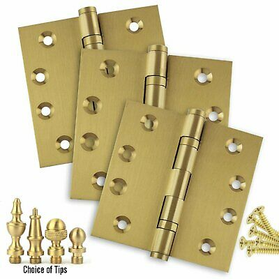 Door Hinges 4 x 4 Solid Brass Ball Bearing Satin Brass With Tips Set of 3