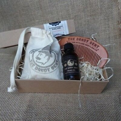 The Dandy Gent Gift Beard Care Box, Sandal Wood Beard Oil, Beard Comb, Shampoo