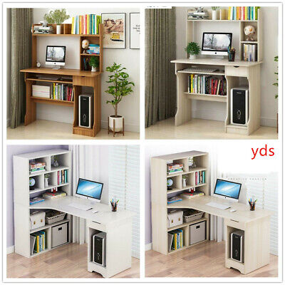 Office PC Study Table Computer Desk With Bookcase Shelves Bedroom Furniture