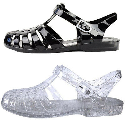 46ddc0c8f32 Womens Summer Beach Jelly Sandals Cut Out Flats Closed Toe Shoes Jellies  Size