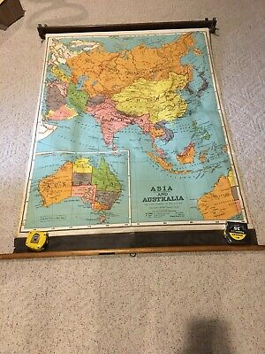 1930s ? Vintage Asia and Australia A.J. Nystrom Classroom Pull down Map