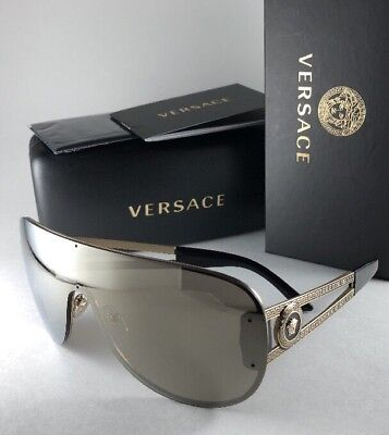 0f62d7246314e New VERSACE Sunglasses MOD.2166 1252 5A Rock Icons Gold Shield Frame Gold  Mirror
