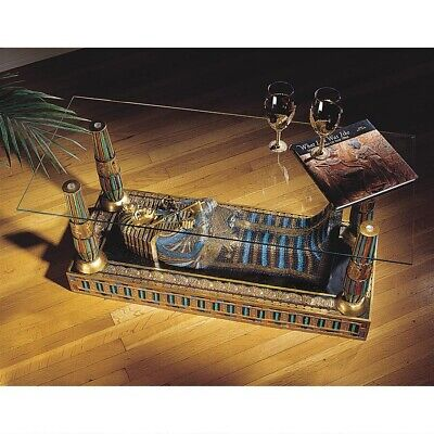 """42"""" Egyptian Art Luxor Sarcophagus of King Tut Sculptural Glass-Topped Table"""