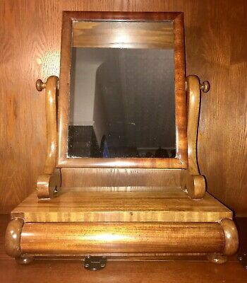 Antique Edwardian Dressing Mirror With Draw Old  Wood Furniture Storage