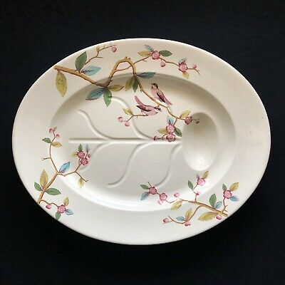 Huge Antique Polychrome Enamel Creamware Chinese Chinoiserie Turkey Bird Platter