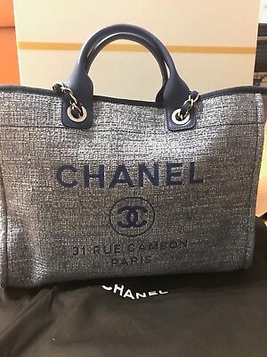 NEW AUTHENTIC CHANEL Deauville Leather Large Shopping 30Cm Beige ... cf233edf04c7d