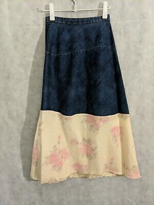 Comme des Garcons tricot AD2001 Denim Silk Floral Deconstructed Skirt Small...