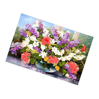 Ribbon Embroidery Cross Stitch Flower Painting DIY Sewing Crafts 70x50cm