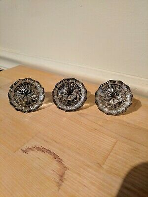 Vintage Antique Clear Glass Door Knobs - Lot of 3 Victorian salvage 12 point