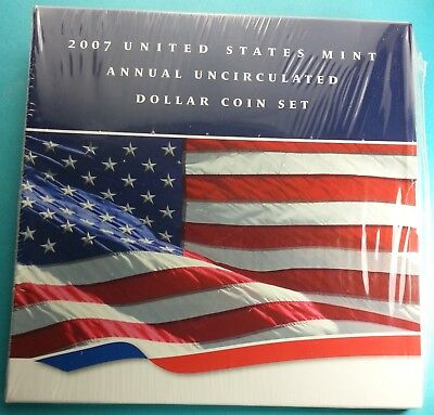 2007 U.S. Annual Uncirculated Dollar Coin Set W/Silver Eagle Incl. STILL SEALED!