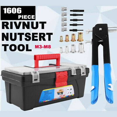 1600x Nut Rivet Rivnut Nutsert Gun Riveting Riveter Kit M3-M8 Threaded Mandrels