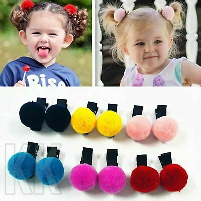 2pcs Girls Hair Clips hairband Baby Kids Hair Pin pom pom furry accessories uk
