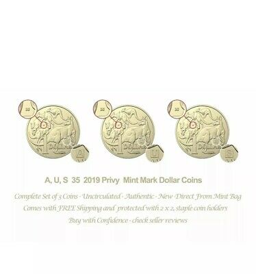 2019 UNC, A, U, S Privy Mark $1 One Dollar Discovery Aust Coin Set Complete 🥇