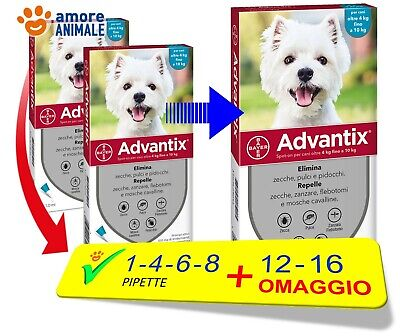 Advantix Bayer - Per cani da 4-10 kg - 1 / 4 / 6 / 8 / 12 / 16 pipette