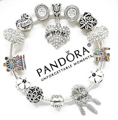 Authentic Pandora Silver Charm Bracelet LOVE FAMILY MOM HEART European Beads.NIB