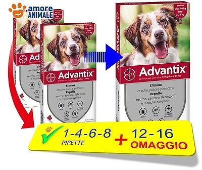 Advantix Bayer - Per cani da 10-25 kg - 1 / 4 / 6 / 8 / 12 / 16 pipette
